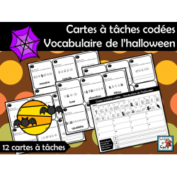 Cartes à tâches codées Vocabulaire de l'halloween