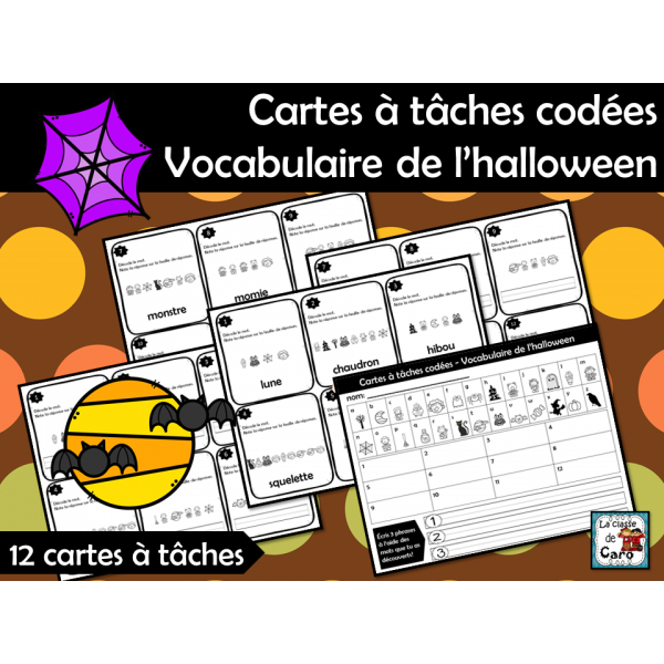 Cartes à tâches codées Vocabulaire de l'halloween