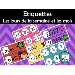 Etiquettes Date, jours de la semaine et mois