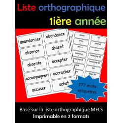 Liste orthographie 1ière année - Mots étiquettes