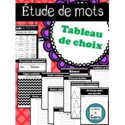 Étude de mots - TABLEAU DE CHOIX