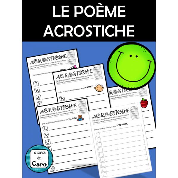 Le poème ACROSTICHE - 5 Fiches imprimables