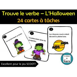 Trouve le verbe – L'Halloween - 24 cartes à tâches