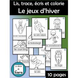 Lis, trace, écris et colorie - Les jeux d'hiver