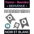 Fanion - Bannière « BIENVENUE» noir et blanc