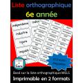 Liste orthographique de 6e année - mots-étiquettes