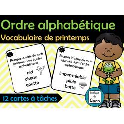 Cartes à tâches - Ordre alphabétique - Printemps