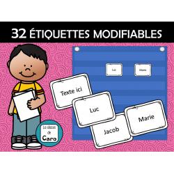 32 ÉTIQUETTES MODIFIABLES