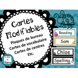 Cartes modifiables - id de bureau, mur de mots