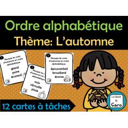 Ordre alphabétique Thème: L'automne