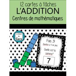 ADDITION -Math -CARTES À TÂCHES - BLOCS UNIFIX