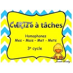 Cartes à tâches Homophones : mes-mais-met-mets