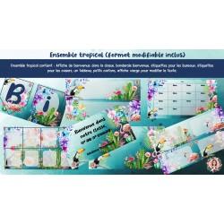 Étiquettes bureaux et casiers (ensemble tropical)
