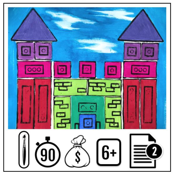 Château de blocs imprimés
