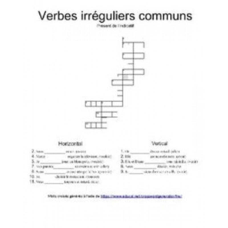 Mots Croises Verbes Irreguliers Communs