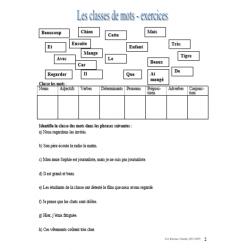 Classes de mots et fonctions dans la phrase