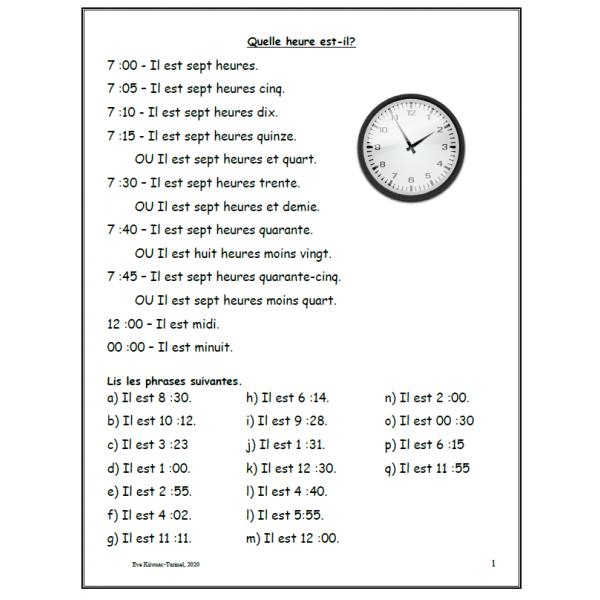 Quelle heure est-il? - Théorie et exercices