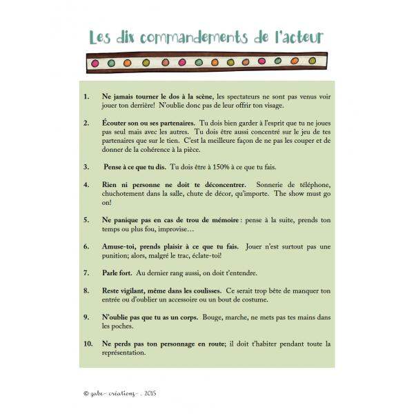 Les dix commandements de l'acteur!