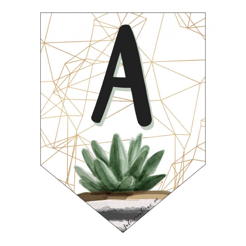 Banderole Avec 26 Lettres De L Alphabet Cactus