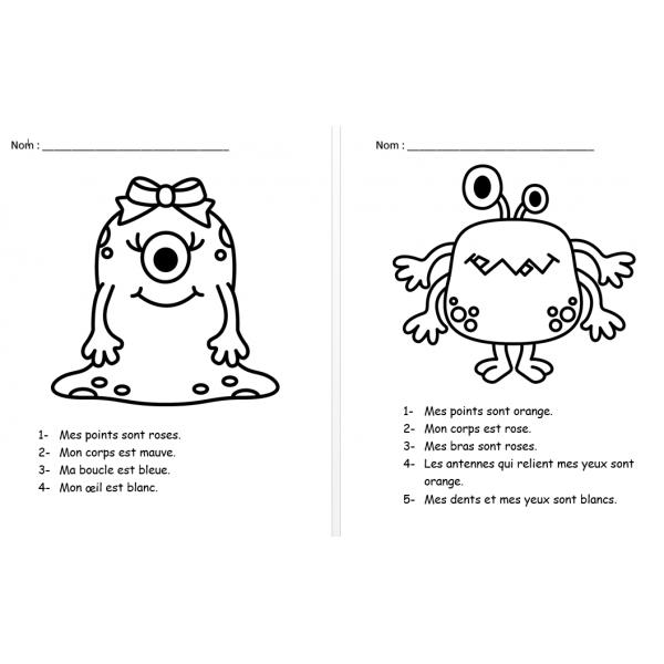 5 petites lectures à colorier - Monstres