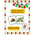 Cartes à pince - Noel - nombres 1 à 12