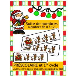 Suites de nombres 1 à 12 - Noel