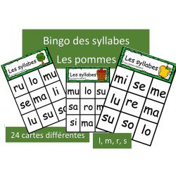 Bingo des syllabes - l,m,r,s - Pommes
