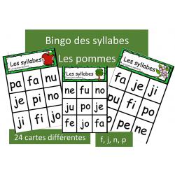 Bingo des syllabes - f,j,n,p - Pommes