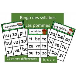 Bingo des syllabes - b, t, v, z - Pommes