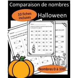 Comparaisons de nombres - 1 à 100 - Halloween