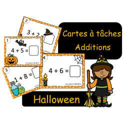 Cartes à tâches - Additions simples - Halloween