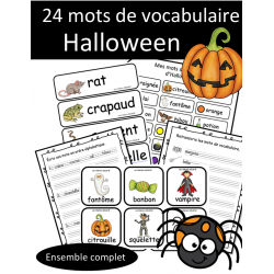 Ensemble 24 mots de vocabulaire - Halloween