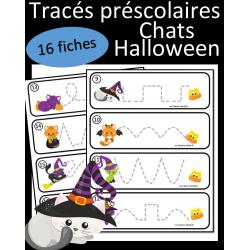 Tracés préscolaires - Chats d'Halloween