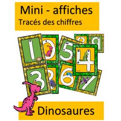 Mini affiches - Tracés de chiffres - Dinosaures