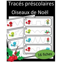 Tracés préscolaires - Oiseaux de Noel