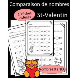 Comparaison de nombres - St-Valentin