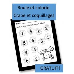 Roule et colorie - Crabe et coquillages