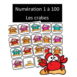 Numération 1 à 100 - Crabes