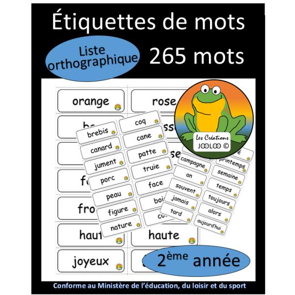 Liste orthographique - 2ème année