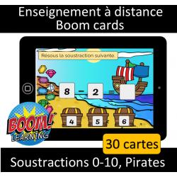 Soustractions 0-10 - Pirates - Numérique