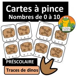 Cartes à pinces - 0 à 10 - Dinosaures