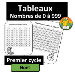 Tableaux de nombres - Noel