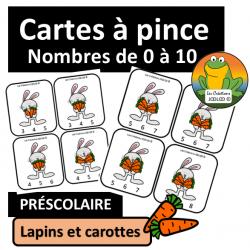 Cartes à pinces - Lapins et carottes
