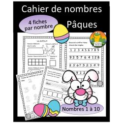Cahier de nombres - 1 à 10 - Pâques