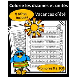 Colorie dizaines et unités - 0 à 100 - Vacances