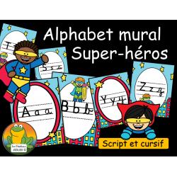 Alphabet mural - Script et cursif - Super-héros