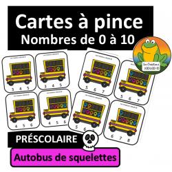 Cartes à pince - 0 à 10 - Autobus de squelettes