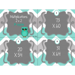 Cartes à tâche - Multiplications 2x2