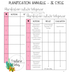 Planification Culture religieuse - 3e cycle