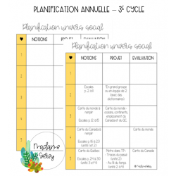 Planification annuelle Univers social - 3e cycle